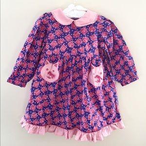 Cornelloki Pink Blue Cat Dress 12-18 Months NWT